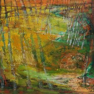 Anna Badar Rape Fields with Birches mixed media on canvasedited 1