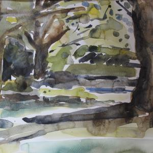 Jennifer Hall Under the trees Melton. Watercolour 1