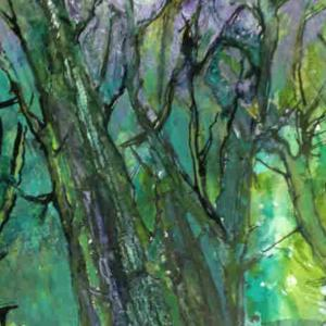Moyra Byford Enchanted Forest Watercolour Ink Collage