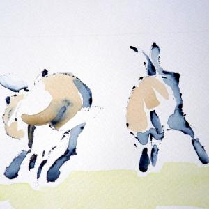Ruth McCabe. Receding Hares. Ink and wash.