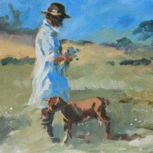 Mary Gundry.Halesworth. Young Girl with Goat. Oil